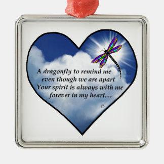 Memorial Dragonfly Poem Metal Ornament