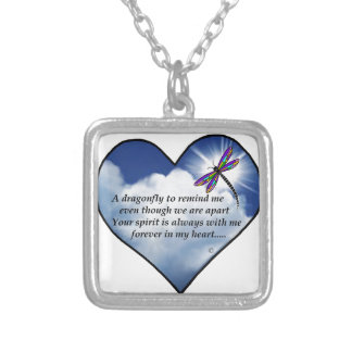 Memorial Dragonfly Poem Square Pendant Necklace