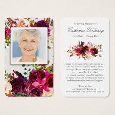 Memorial Floral Prayer Card | Floral Bordo Photo