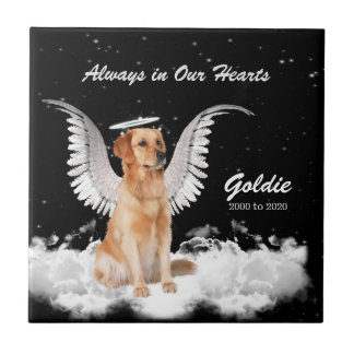 Memorial for Pet Golden Retriever Angel Dog Tile
