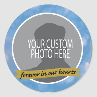 Memorial Forever with sky border custom photo Classic Round Sticker