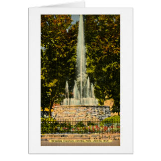Memorial Fountain, Central Park, Lansing, Michigan Greeting Card
