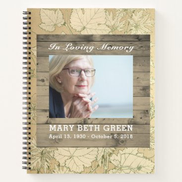 Beach Themed Memorial Funeral Guest Book Fall Leaves Wood
