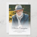 Memorial Funeral Modern Classic Simple Photo Thank You Card