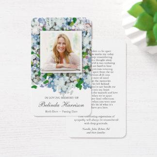 Memorial Funeral Prayer Card | Blue Hydrangea