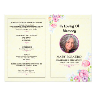 Funeral flyers programs zazzle for Funeral leaflet template