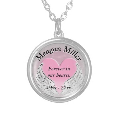 Memorial Heart and Angel Wings Silver Plated Necklace