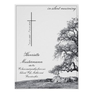 Memorial in silent mourning - tree on  meadow poster