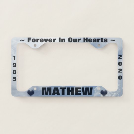 Memorial License Plate with Clouds / Hearts License Plate Frame ...