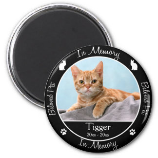 Memorial - Loss of Cat - Custom Photo/Name Magnet