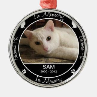 Memorial - Loss of Cat - Custom Photo/Name Round Metal Christmas Ornament