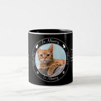 Memorial - Loss of Cat - Custom Photo/Name Two-Tone Coffee Mug
