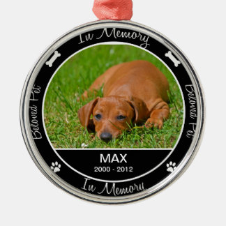 Memorial - Loss of Dog- Custom Photo/Name Round Metal Christmas Ornament