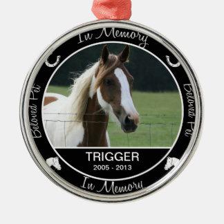 Memorial - Loss of Horse - Custom Photo/Name Metal Ornament