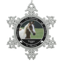 Memorial - Loss of Horse- Custom Photo/Name Snowflake Pewter Christmas Ornament