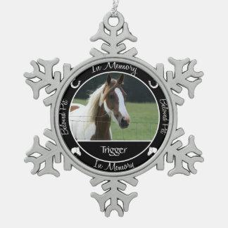 Memorial - Loss of Horse- Custom Photo/Name Snowflake Pewter Christmas Ornament
