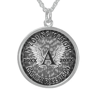 Memorial | Monogram Angel Wings Sterling Silver Necklace