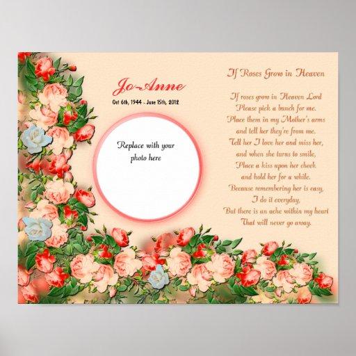 Memorial - Mother - IF Roses Grown in Heaven Poem Poster