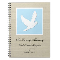 Memorial or Funeral Guest Book Notebook - Dove