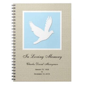 Memorial or Funeral Guest Book Notebook - Dove
