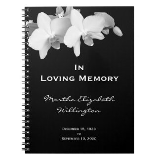 Memorial or Funeral Guest Book Notebook Floral