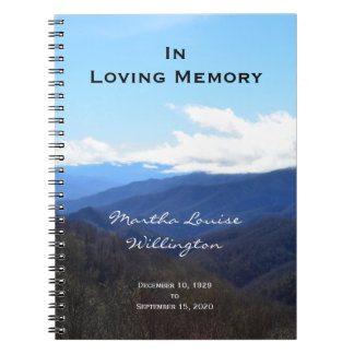 Memorial or Funeral Guest Book Notebook Mountains