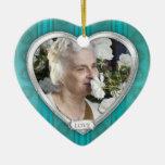 Memorial Photo Aqua Blue Silver Heart Christmas Christmas Tree Ornament