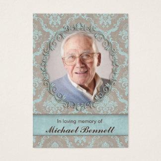 Memorial Photo Card Vintage Damask Blue Brown