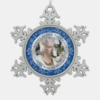 Memorial Photo Christmas Blue Silver Snowflake Pewter Christmas Ornament
