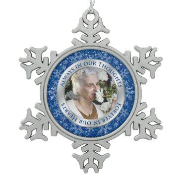 Christmas Themed Memorial Photo Christmas Blue Silver Snowflake Pewter Christmas Ornament