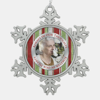 Memorial Photo Christmas Candy Stripes Snowflake Pewter Christmas Ornament