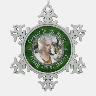 Memorial Photo Christmas Green Silver Celtic Knot Snowflake Pewter Christmas Ornament