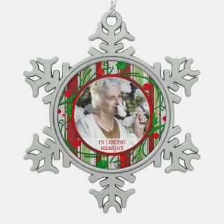 Memorial Photo Christmas Holly Berries Snowflake Pewter Christmas Ornament