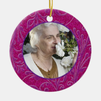 Memorial Photo Christmas Ornament Pink Purple
