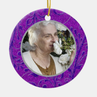 Memorial Photo Christmas Ornament Purple