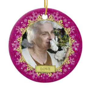 Memorial Photo Christmas Ornament - snowflakes ornament