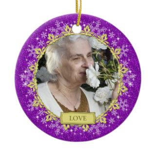 Memorial Photo Christmas Ornament - snowflakes