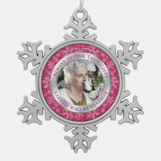 Memorial Photo Christmas Pink Silver Snowflake Pewter Christmas Ornament