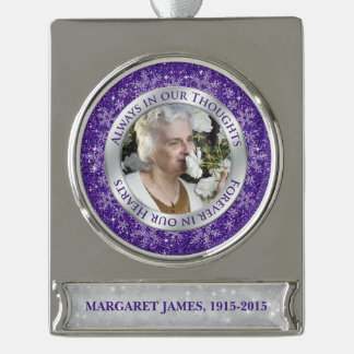 Memorial Photo Christmas Purple Silver Snowflake Silver Plated Banner Ornament