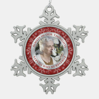 Memorial Photo Christmas Red Silver Snowflake Pewter Christmas Ornament