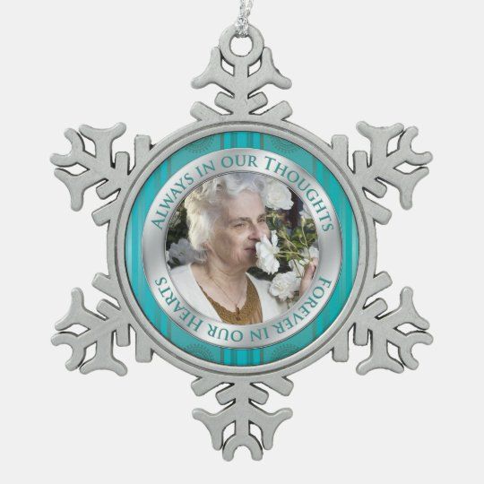 Memorial Photo Christmas Teal Silver Snowflake Pewter Christmas Ornament