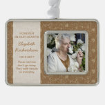 Memorial Photo Christmas Xmas Rustic Burlap Lace Silver Plated Framed Ornament