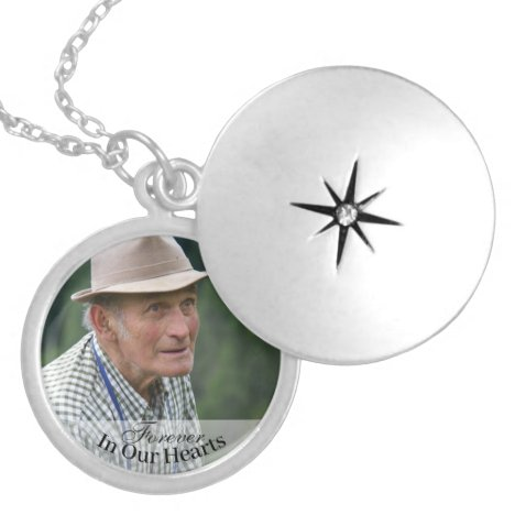 Memorial Photo Forever In Our Hearts Keepsake Locket Necklace