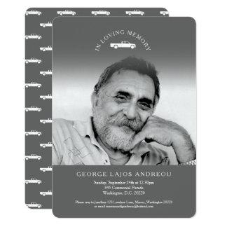 Memorial photo grey truck funeral invitations