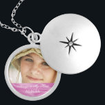 """Memorial Photo Keepsake Always in My Heart Pink Silver Plated Necklace<br><div class=""""desc"""">Personalized, custom photo memorial necklace- For anyone bereaving the loss of a loved one, whether it's a close friend, family member, or beloved pet. It reads 'Always in My Heart' in elegant script letters with customizable name or custom text over pale pink, faux silk or satin fabric border. Unique photo...</div>"""