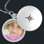 """Memorial Photo Keepsake Always in My Heart Pink Silver Plated Necklace<br><div class=""""desc"""">Personalized, custom photo memorial necklace- For anyone bereaving the loss of a loved one, whether it"""