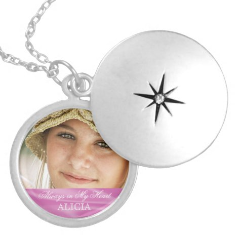 Memorial Photo Keepsake Always in My Heart Pink Silver Plated Necklace