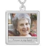 Memorial Photo Necklace<br><div class='desc'>Custom photo necklace,  with space for personalization.  Click &quot;customize&quot; to adjust photo size or text size.</div>