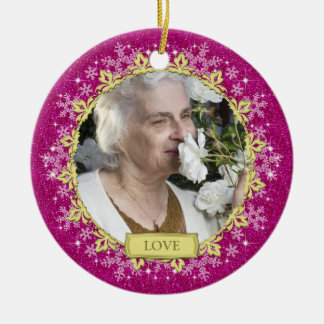 Memorial Photo Pink Snowflakes Christmas Ceramic Ornament
