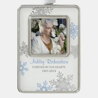 Memorial Photo Template Christmas Blue Silver Ornament